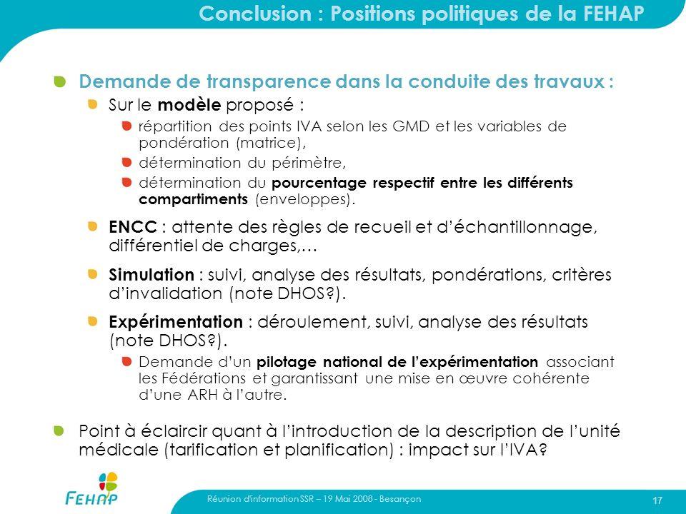 Conclusion : Positions politiques de la FEHAP