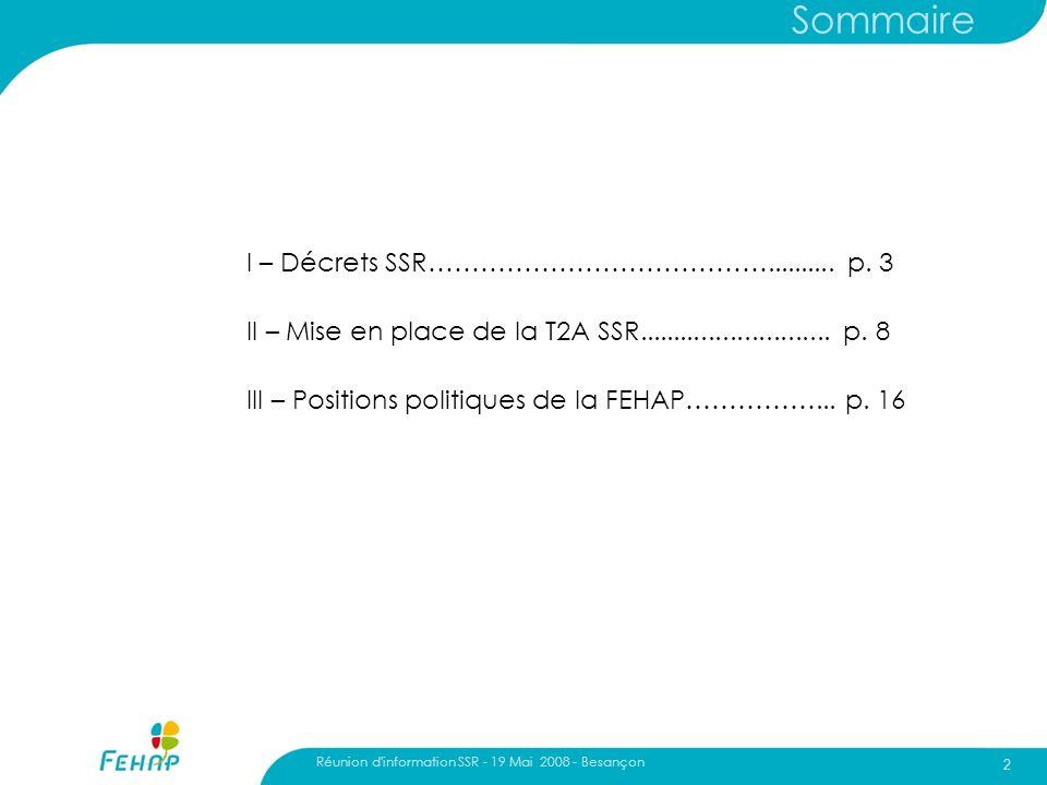 Sommaire I – Décrets SSR………………………………….......... p. 3
