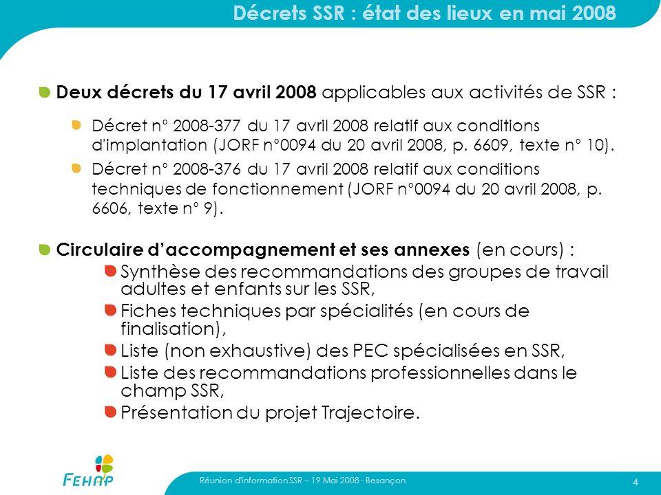 Décrets SSR : état des lieux en mai 2008