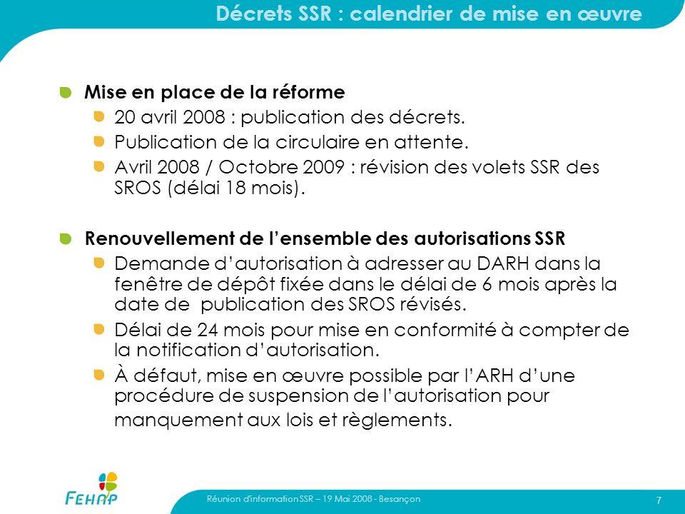 Décrets SSR : calendrier de mise en œuvre