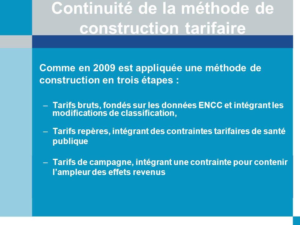 Continuité de la méthode de construction tarifaire