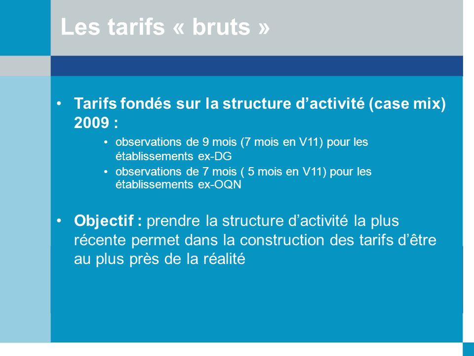 Les tarifs « bruts »Tarifs fondés sur la structure d'activité (case mix) 2009 : observations de 9 mois (7 mois en V11) pour les établissements ex-DG.