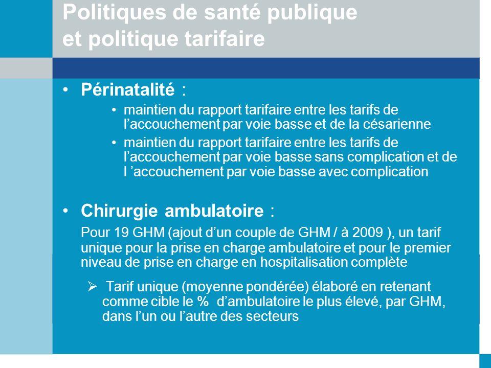 Politiques de santé publique et politique tarifaire