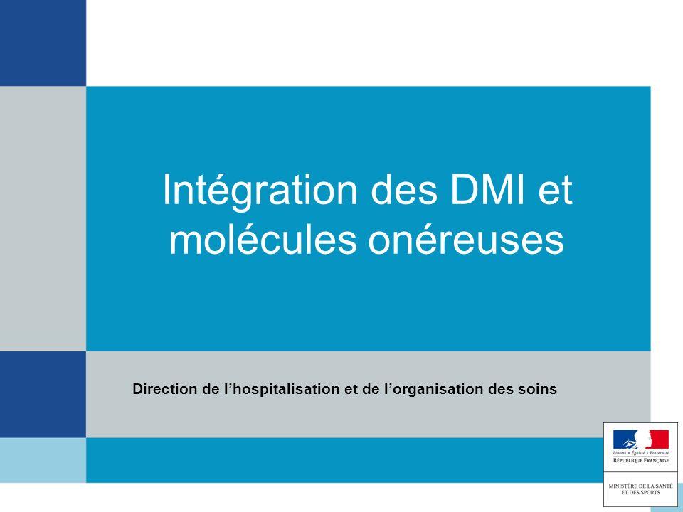 Intégration des DMI et molécules onéreuses