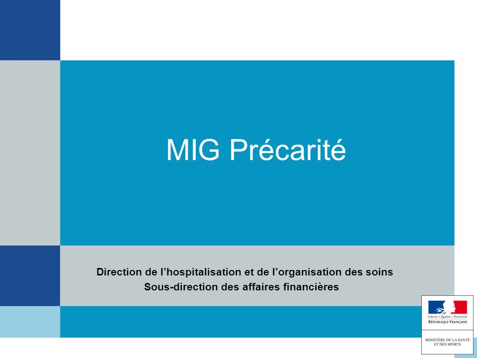 MIG PrécaritéDirection de l'hospitalisation et de l'organisation des soins.