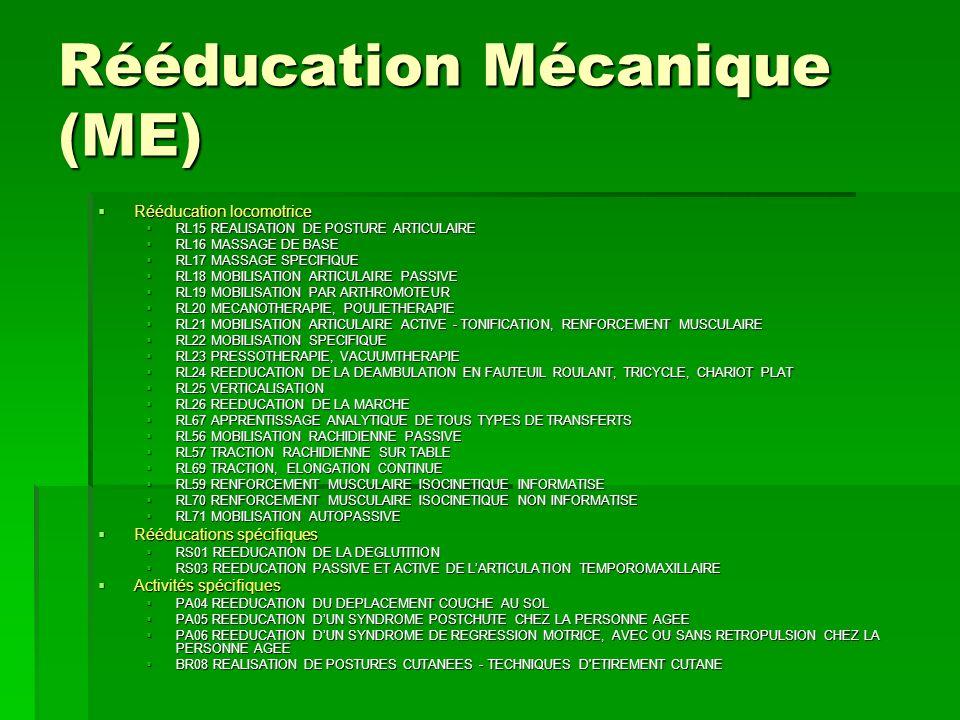 Rééducation Mécanique (ME)