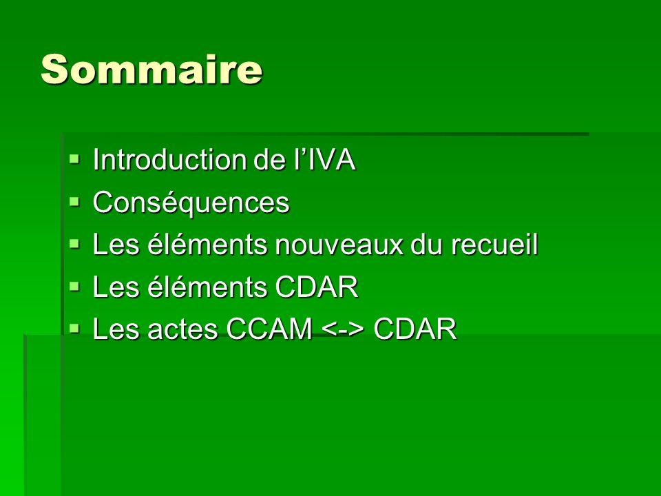Sommaire Introduction de l'IVA Conséquences