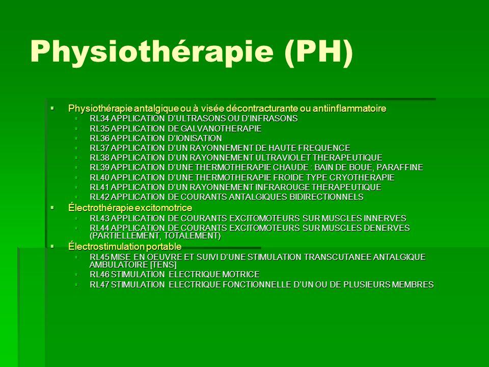 Physiothérapie (PH)Physiothérapie antalgique ou à visée décontracturante ou antiinflammatoire. RL34 APPLICATION D'ULTRASONS OU D'INFRASONS.