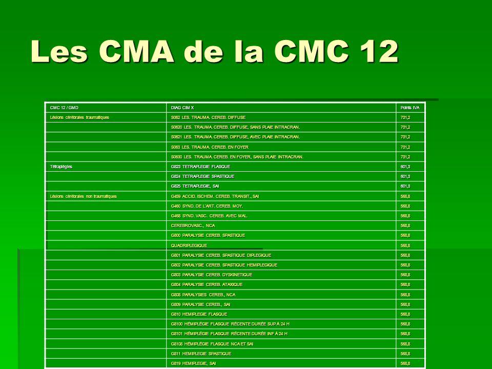 Les CMA de la CMC 12 CMC 12 / GMD DIAG CIM X Points IVA