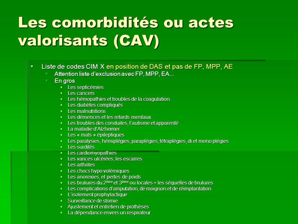 Les comorbidités ou actes valorisants (CAV)