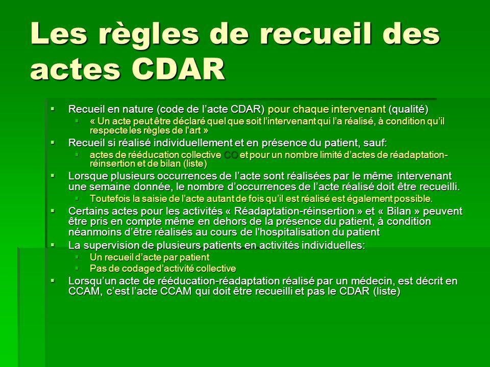 Les règles de recueil des actes CDAR