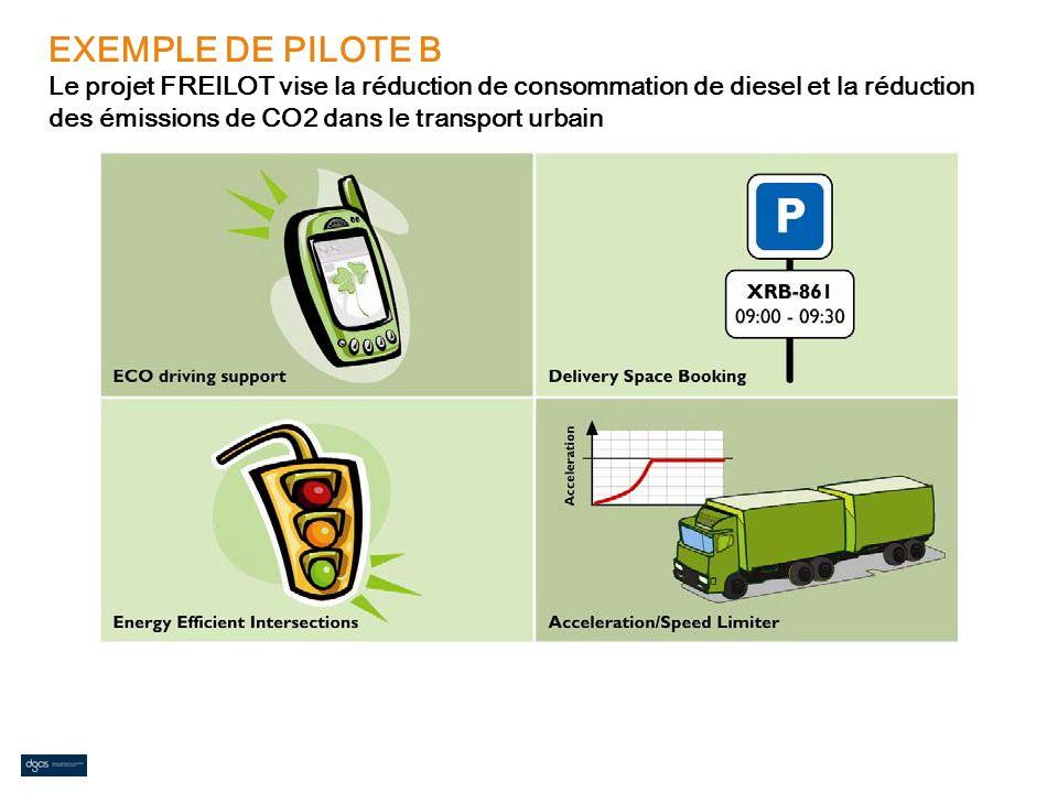 EXEMPLE DE PILOTE B Le projet FREILOT vise la réduction de consommation de diesel et la réduction des émissions de CO2 dans le transport urbain