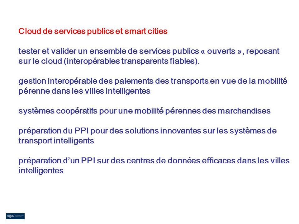 Cloud de services publics et smart cities tester et valider un ensemble de services publics « ouverts », reposant sur le cloud (interopérables transparents fiables).