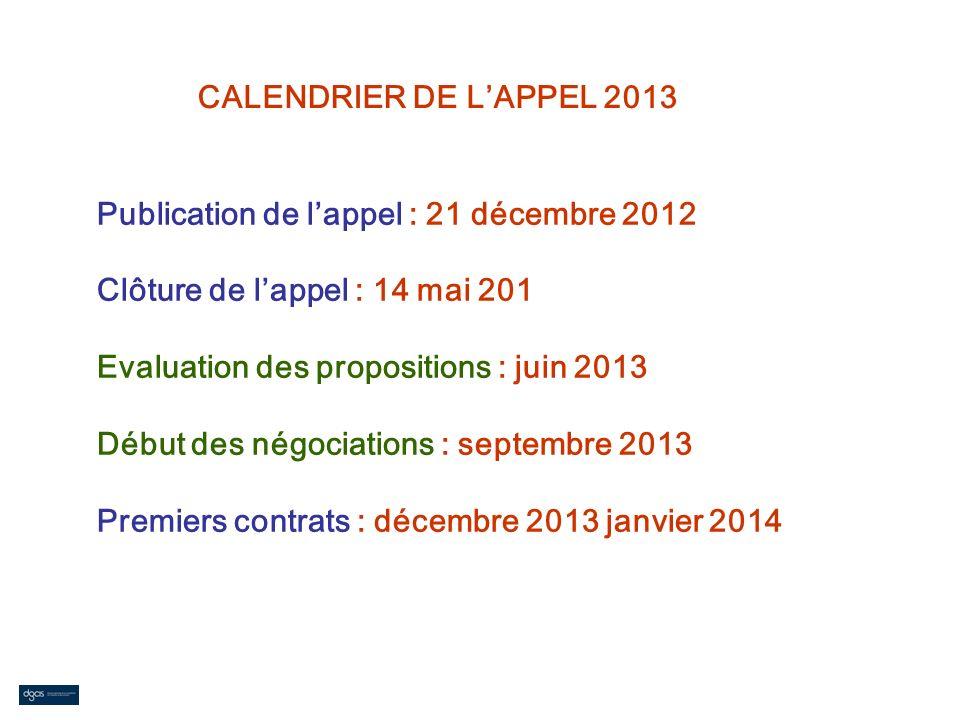 CALENDRIER DE L'APPEL 2013