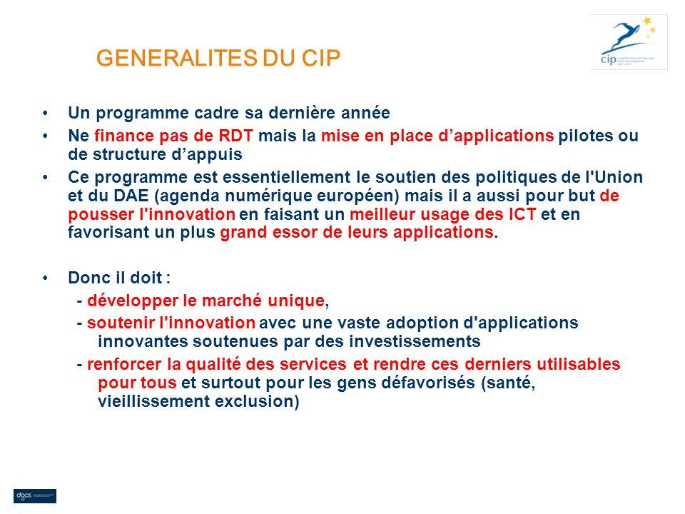 GENERALITES DU CIP Un programme cadre sa dernière année