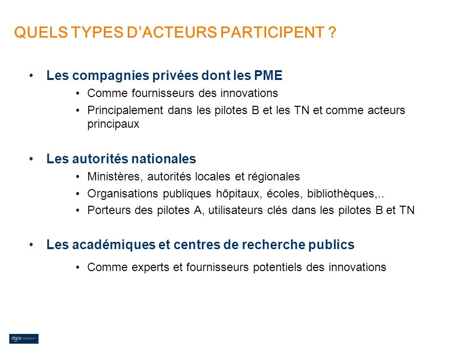 QUELS TYPES D'ACTEURS PARTICIPENT