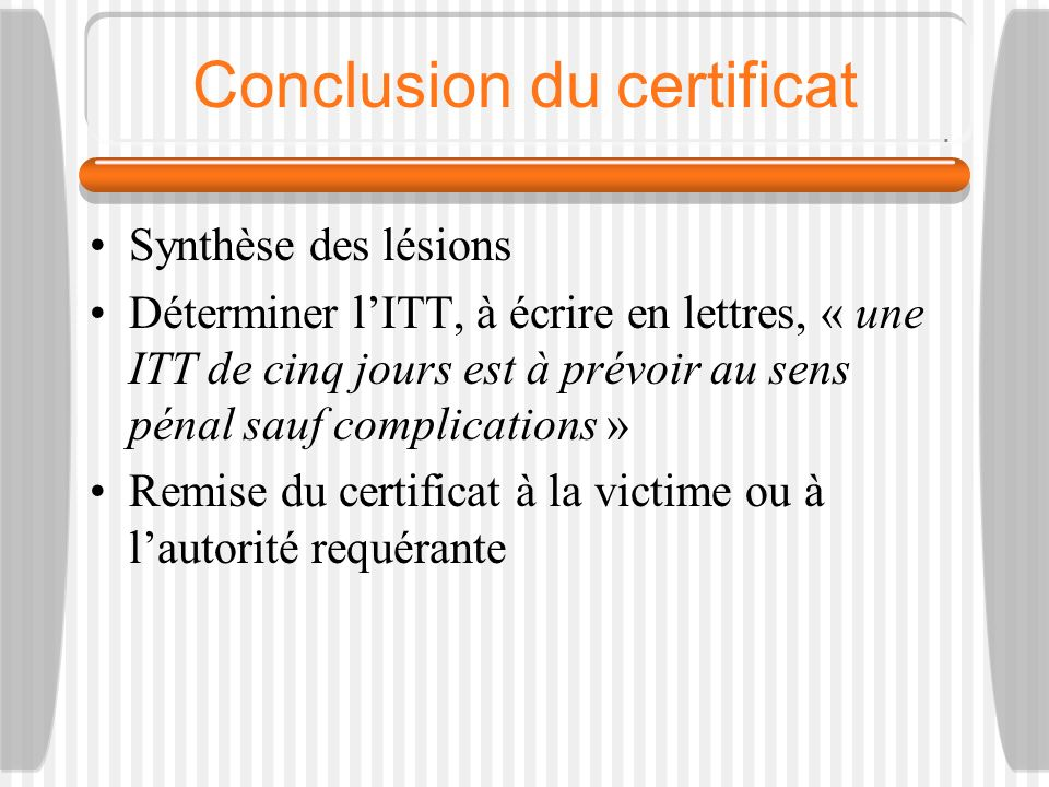 Conclusion du certificat