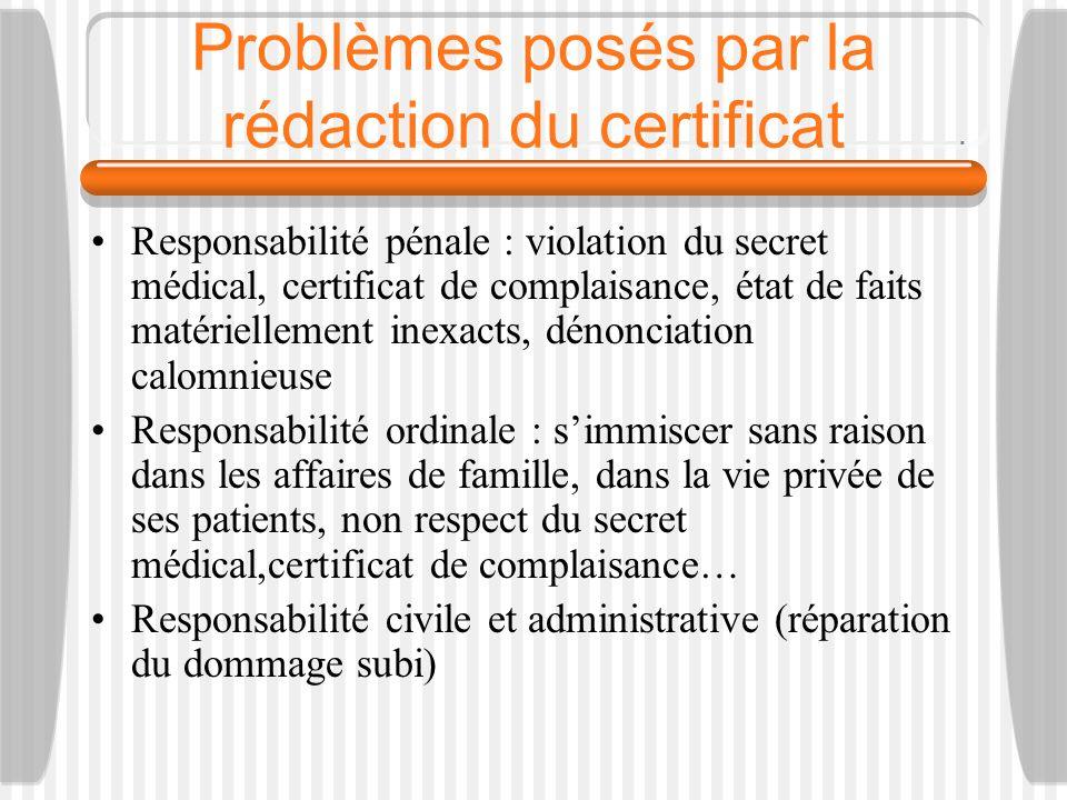 Problèmes posés par la rédaction du certificat