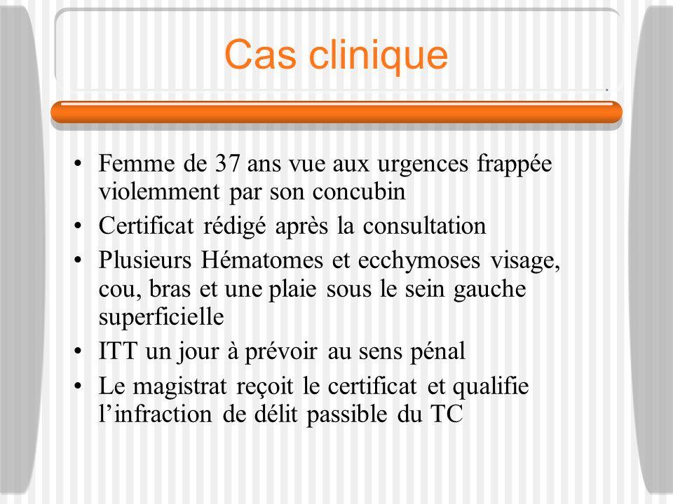 Cas clinique Femme de 37 ans vue aux urgences frappée violemment par son concubin. Certificat rédigé après la consultation.