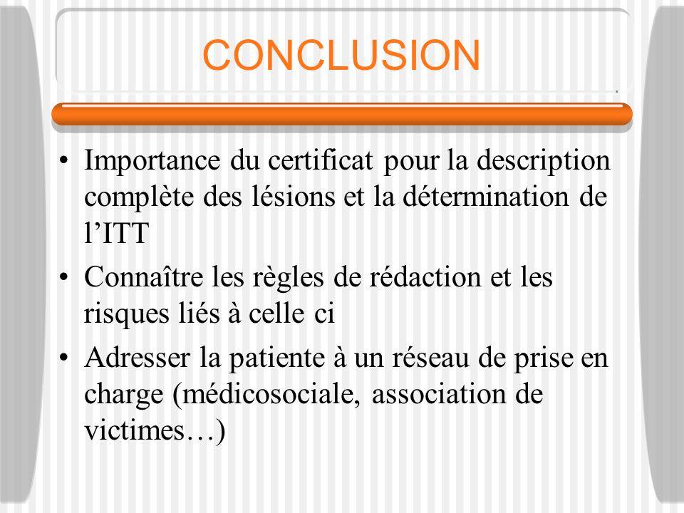 CONCLUSION Importance du certificat pour la description complète des lésions et la détermination de l'ITT.