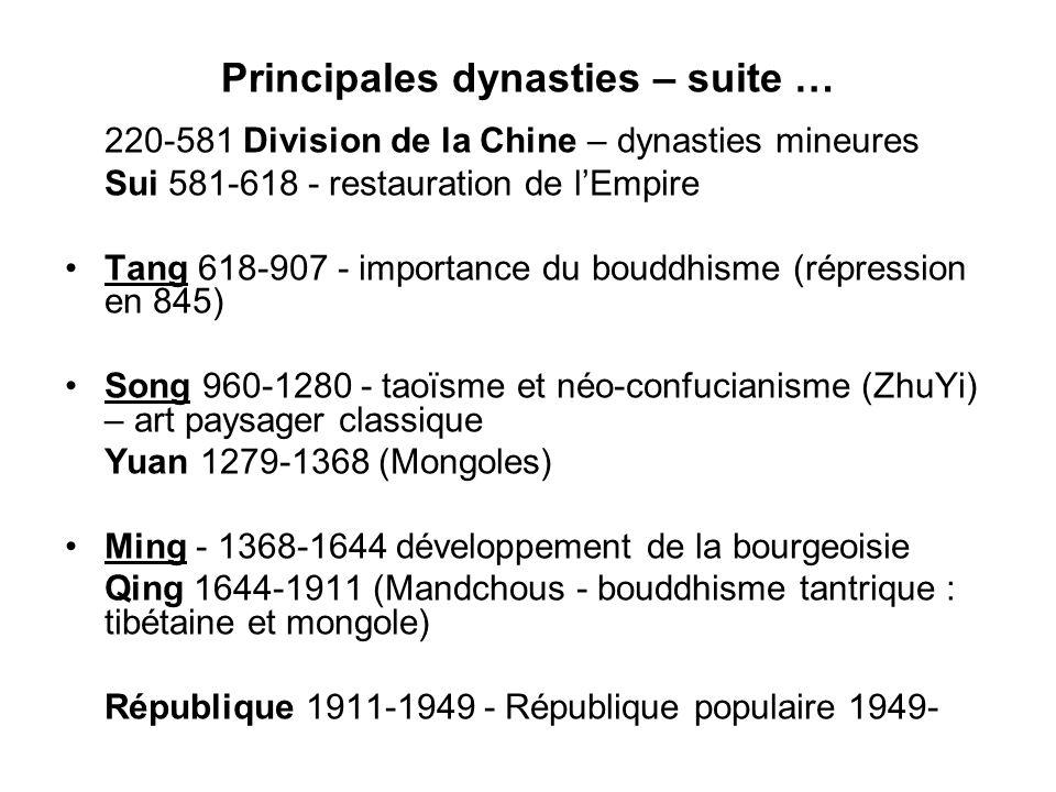 Principales dynasties – suite …