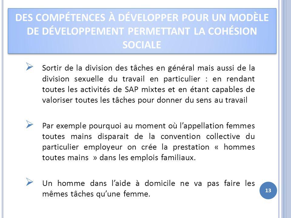 Des compétences à développer pour un modèle de développement permettant la cohésion sociale