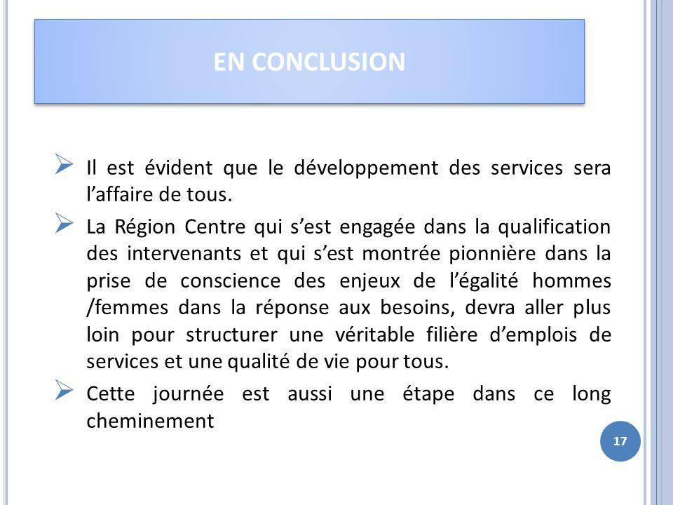 EN CONCLUSION Il est évident que le développement des services sera l'affaire de tous.