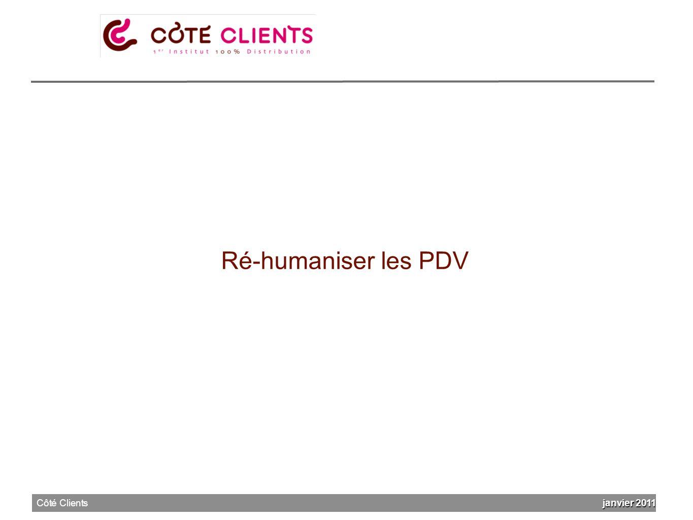 Ré-humaniser les PDV janvier 2011 Côté Clients