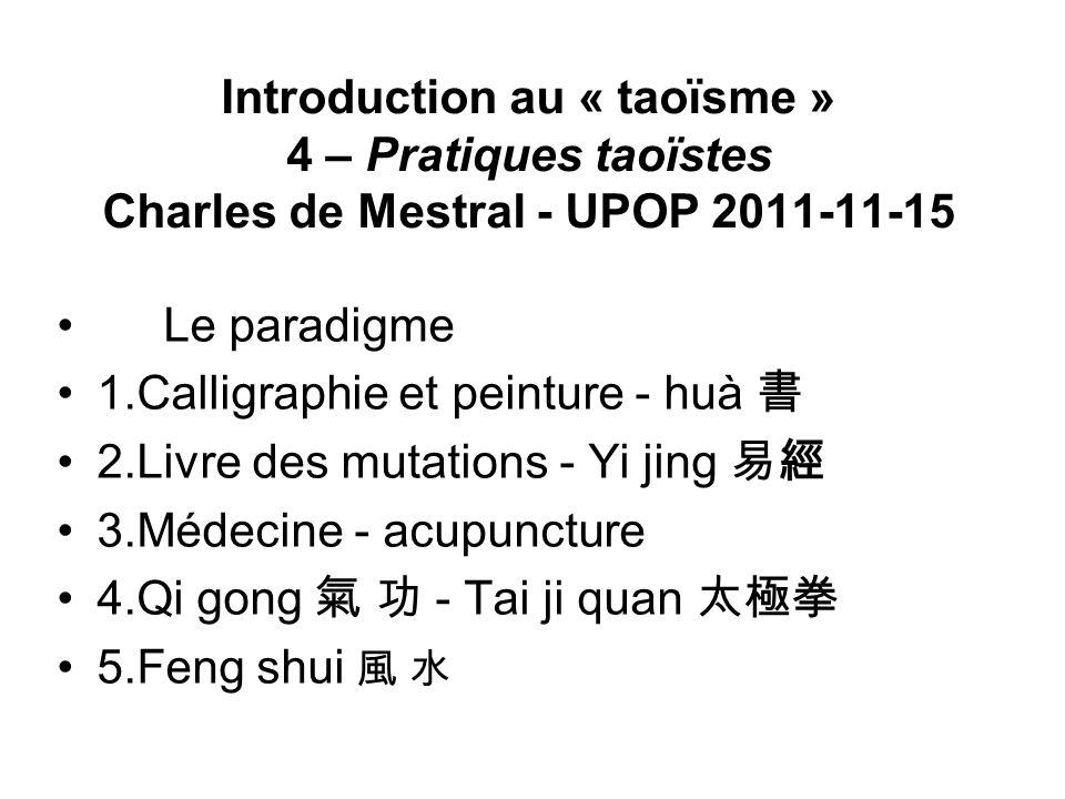 Introduction au « taoïsme » 4 – Pratiques taoïstes Charles de Mestral - UPOP 2011-11-15