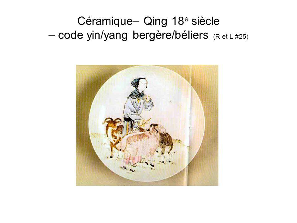 Céramique– Qing 18e siècle – code yin/yang bergère/béliers (R et L #25)