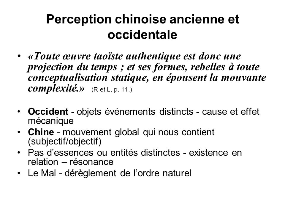 Perception chinoise ancienne et occidentale