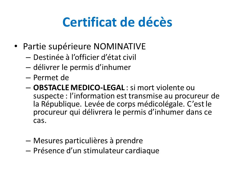 Certificat de décès Partie supérieure NOMINATIVE