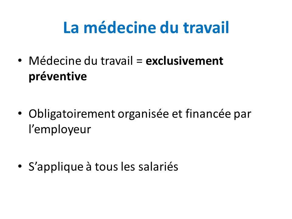La médecine du travail Médecine du travail = exclusivement préventive