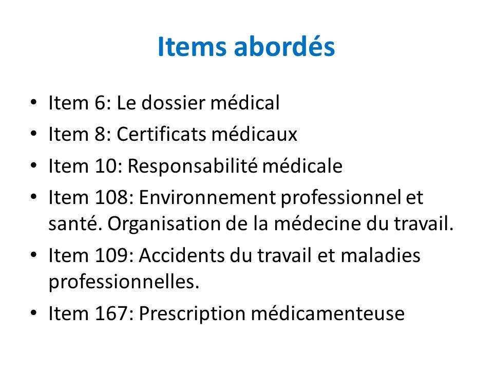 Items abordés Item 6: Le dossier médical Item 8: Certificats médicaux