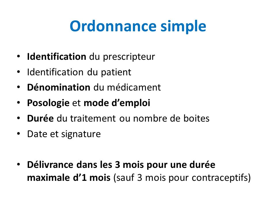 Ordonnance simple Identification du prescripteur