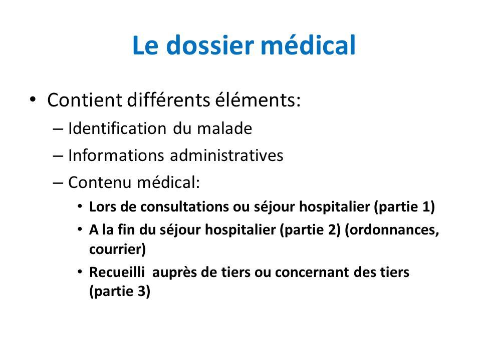 Le dossier médical Contient différents éléments: