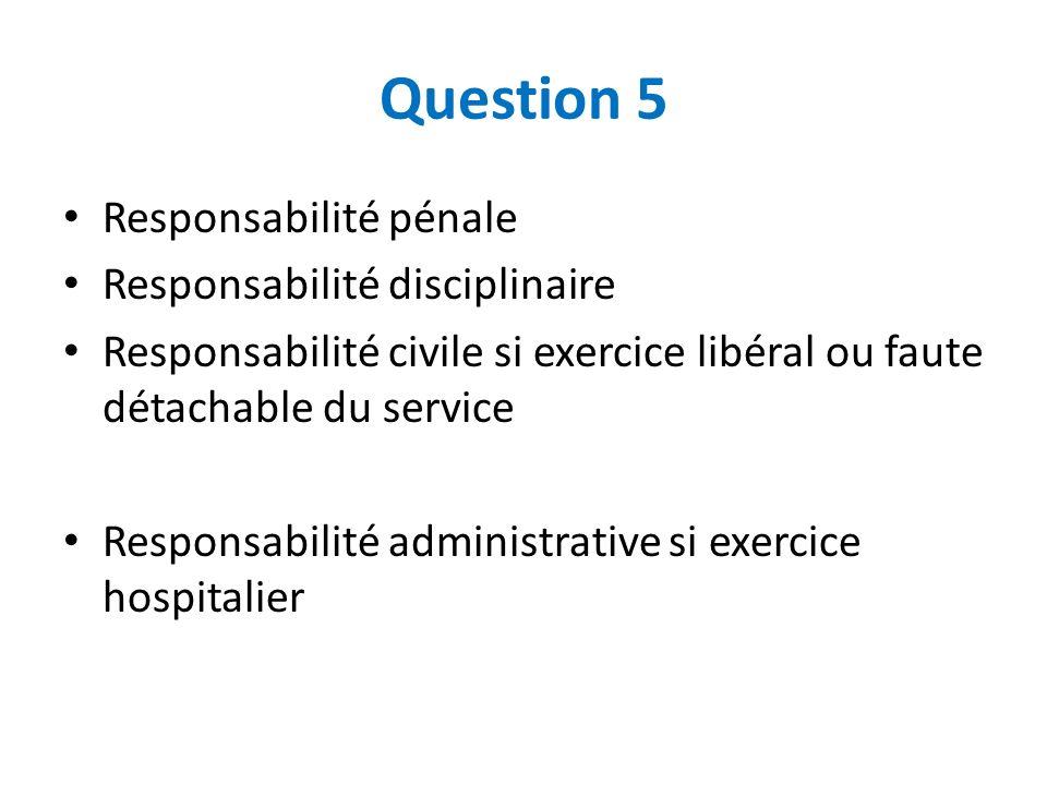 Question 5 Responsabilité pénale Responsabilité disciplinaire