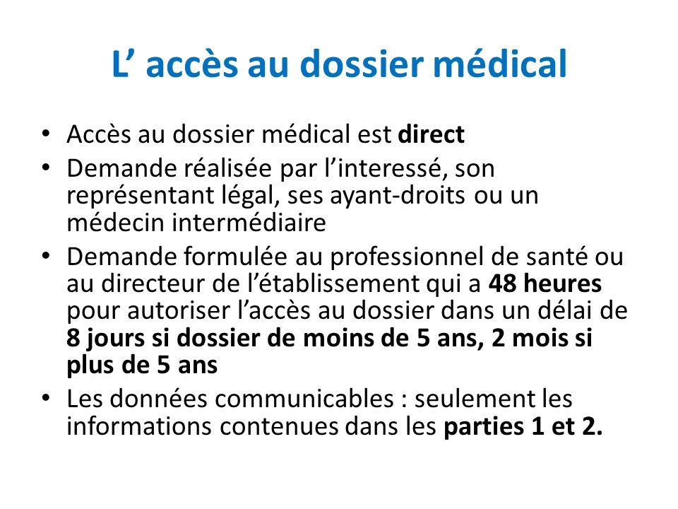 L' accès au dossier médical