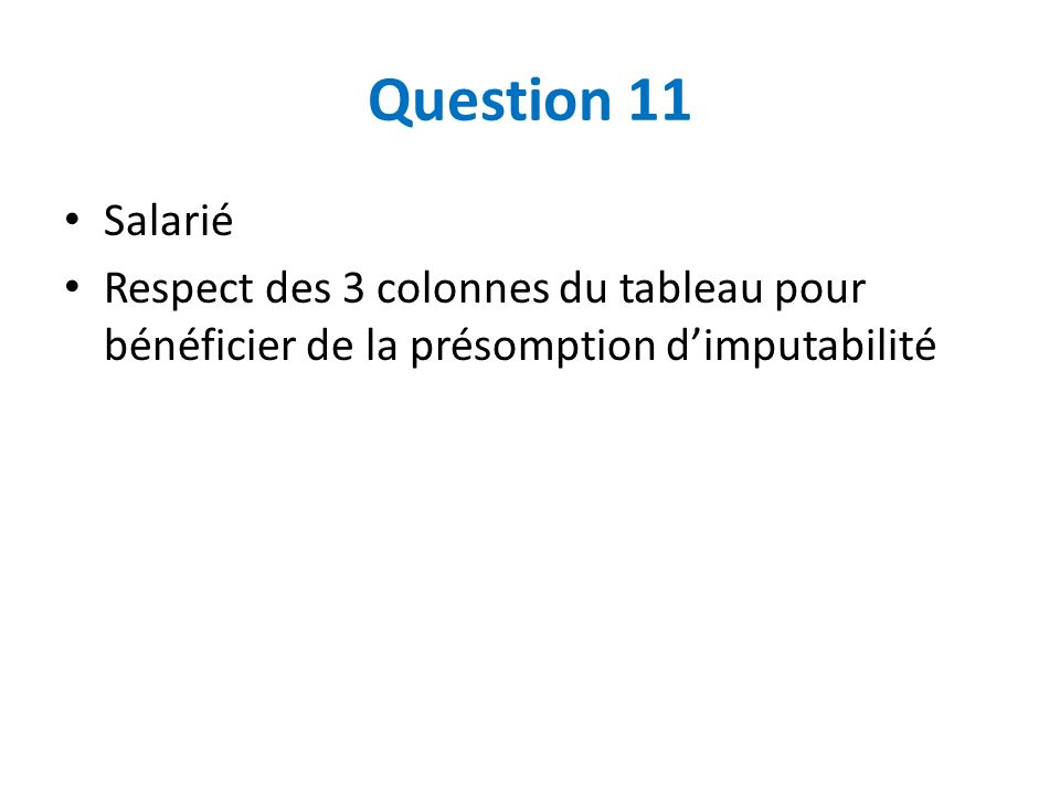 Question 11 Salarié.