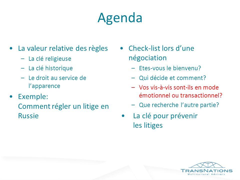 Agenda La valeur relative des règles