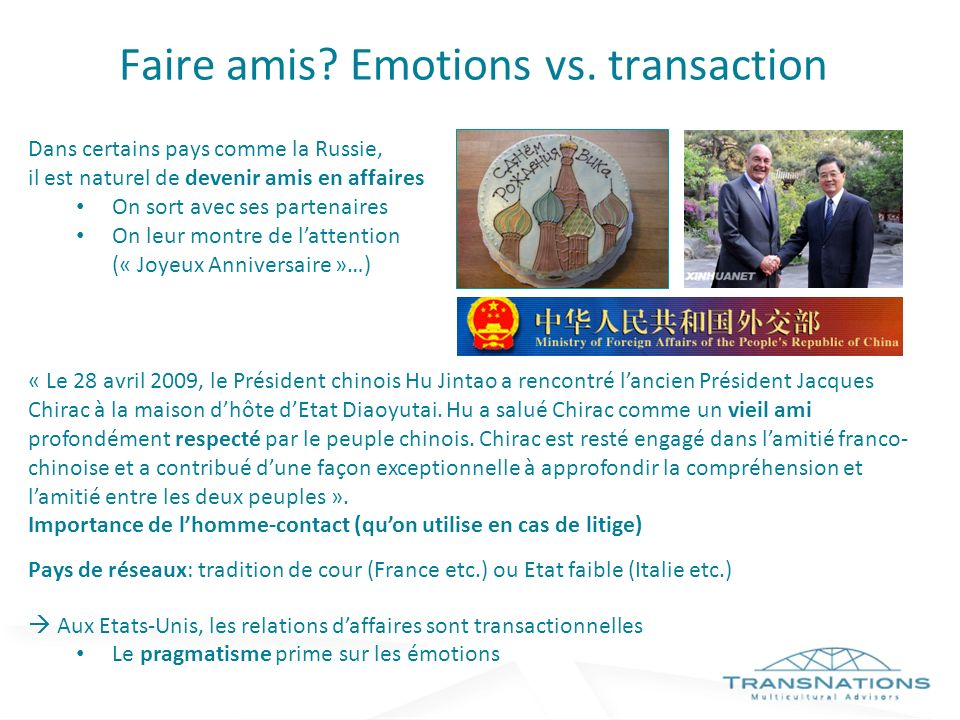 Faire amis Emotions vs. transaction