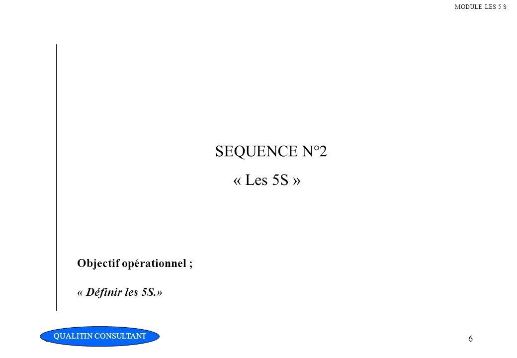 SEQUENCE N°2 « Les 5S » Objectif opérationnel ; « Définir les 5S.»