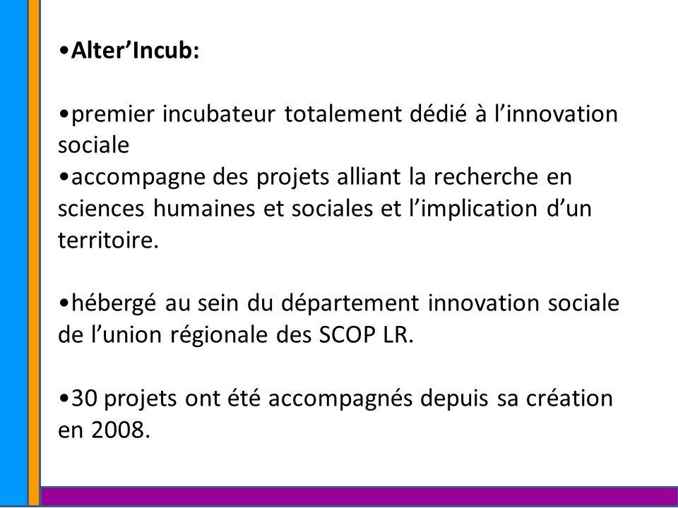 Alter'Incub: premier incubateur totalement dédié à l'innovation sociale.