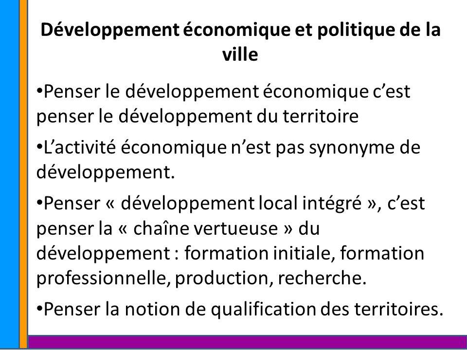 Développement économique et politique de la ville