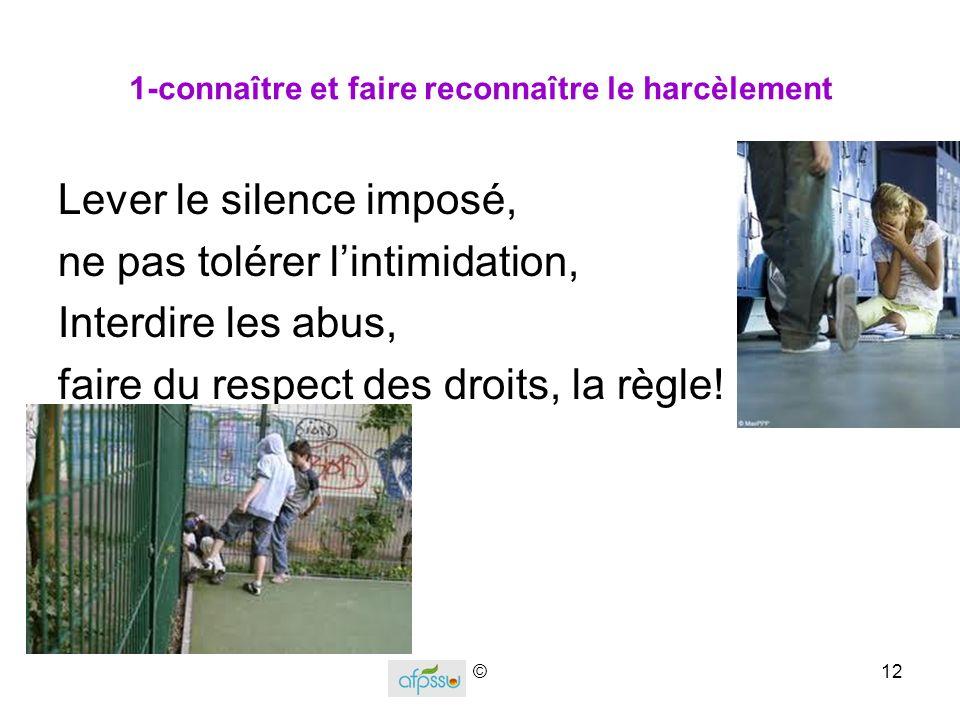 1-connaître et faire reconnaître le harcèlement