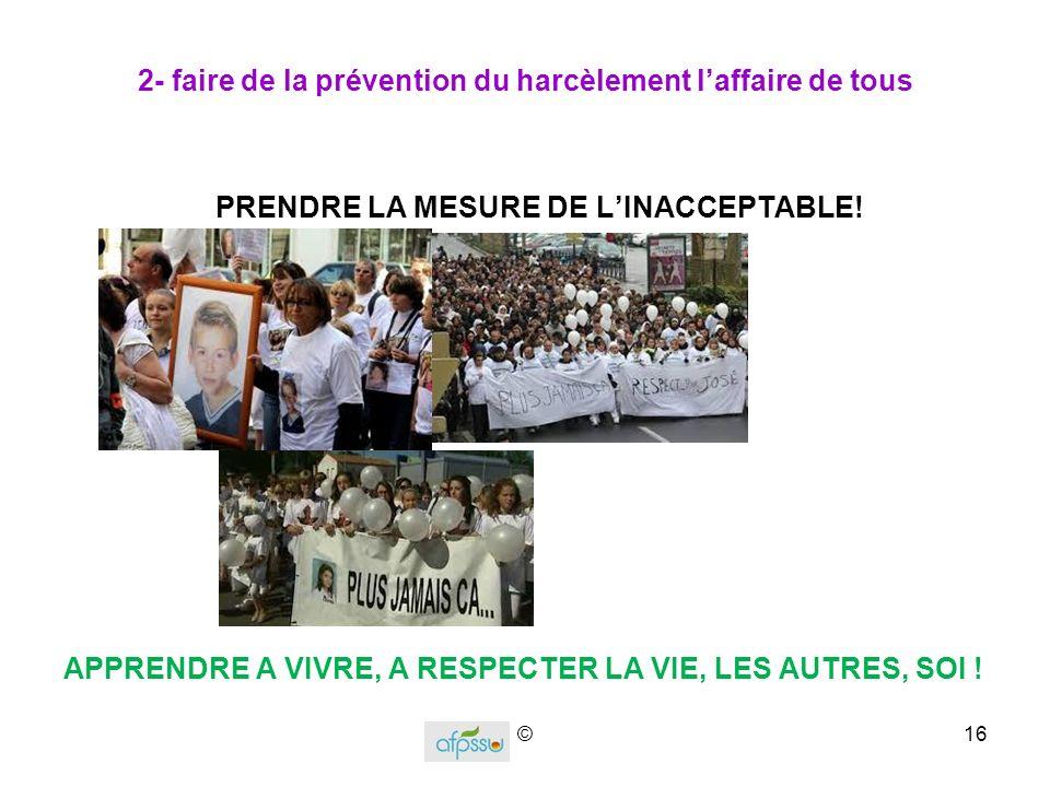 2- faire de la prévention du harcèlement l'affaire de tous