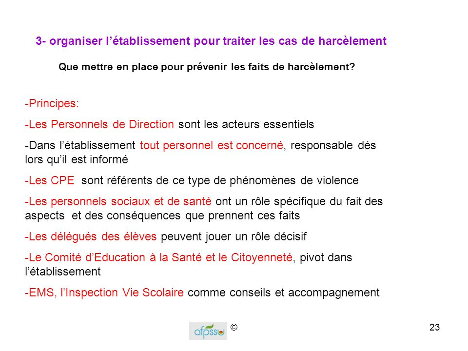 3- organiser l'établissement pour traiter les cas de harcèlement