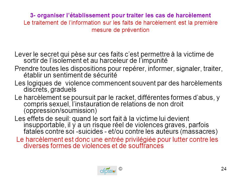 3- organiser l'établissement pour traiter les cas de harcèlement Le traitement de l'information sur les faits de harcèlement est la première mesure de prévention