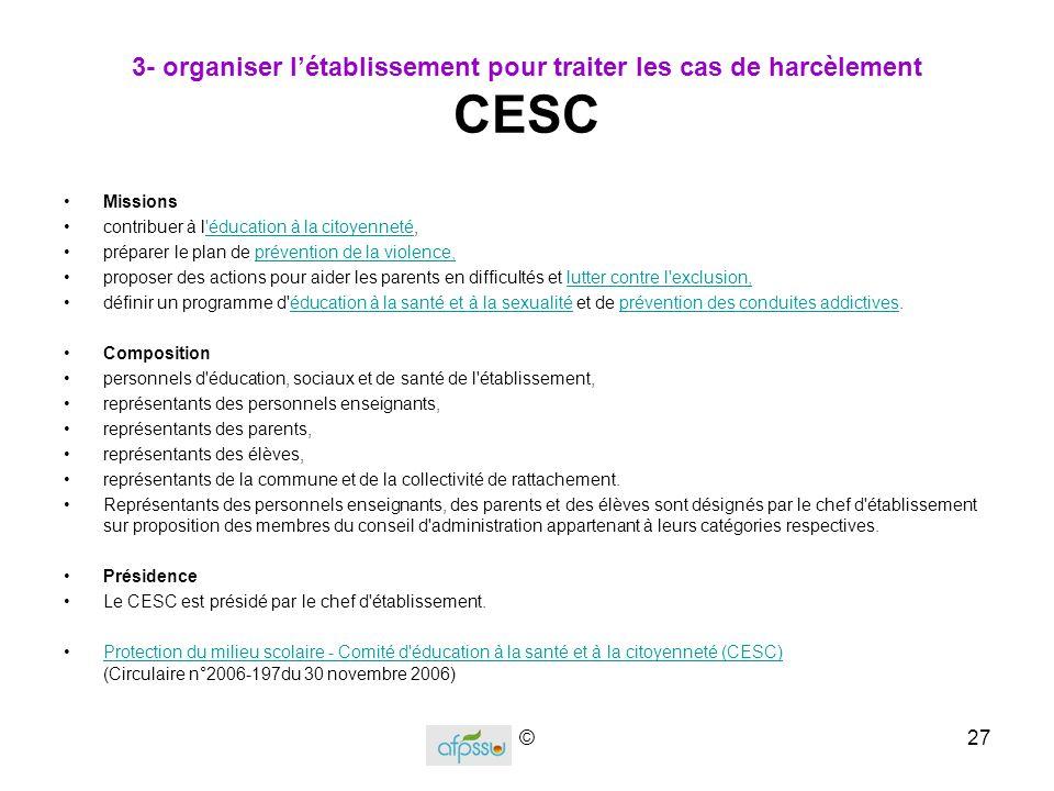 3- organiser l'établissement pour traiter les cas de harcèlement CESC