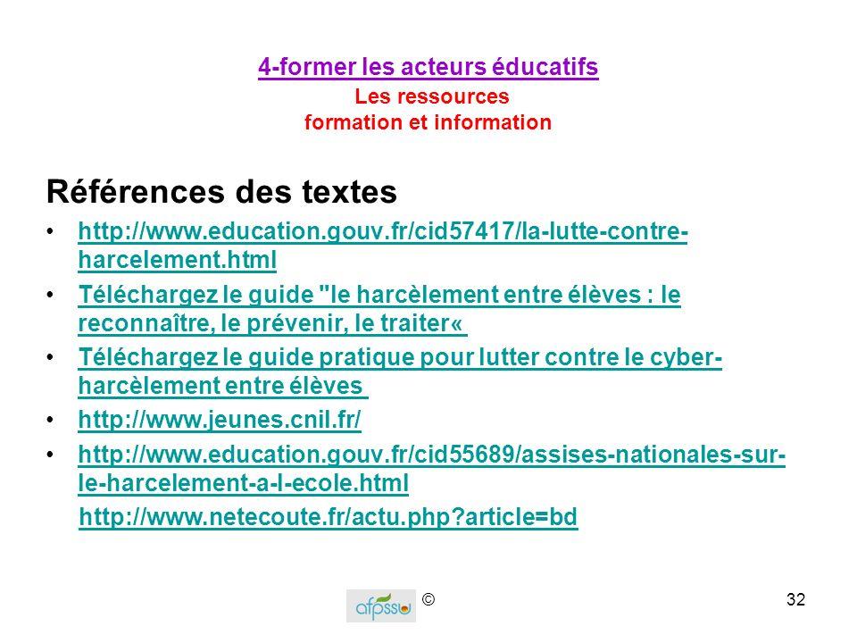 4-former les acteurs éducatifs Les ressources formation et information